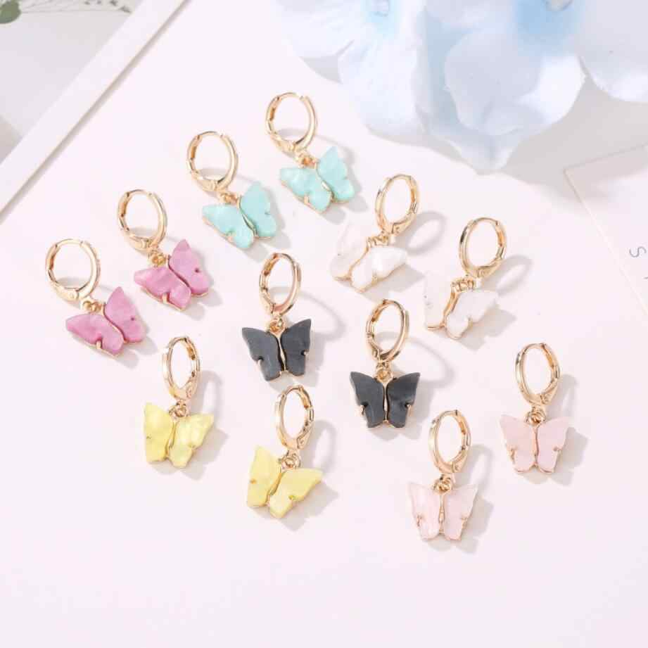 2020 Baru Wanita Anting-Anting Fashion 6 Warna Acrylic Butterfly Stud Anting-Anting Hewan Manis Warna-warni Stud Anting-Anting Wanita Perhiasan Hot
