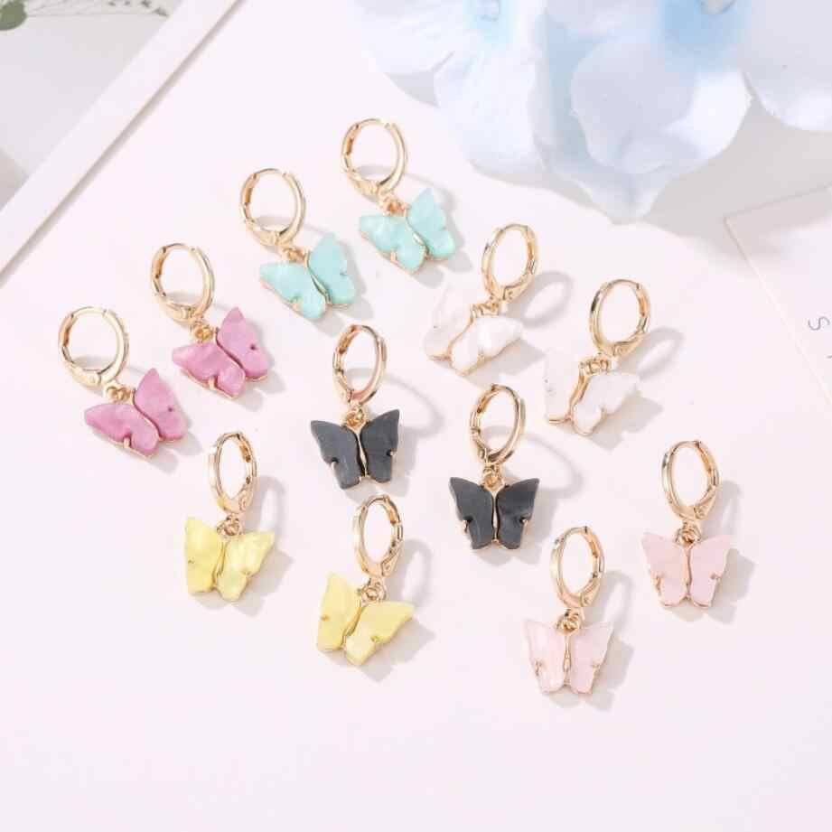 2020 nowych kobiet kolczyki moda 6 kolorów akrylowe motyl stadniny kolczyki zwierząt słodkie kolorowe kolczyki biżuteria dziewczęca Hot