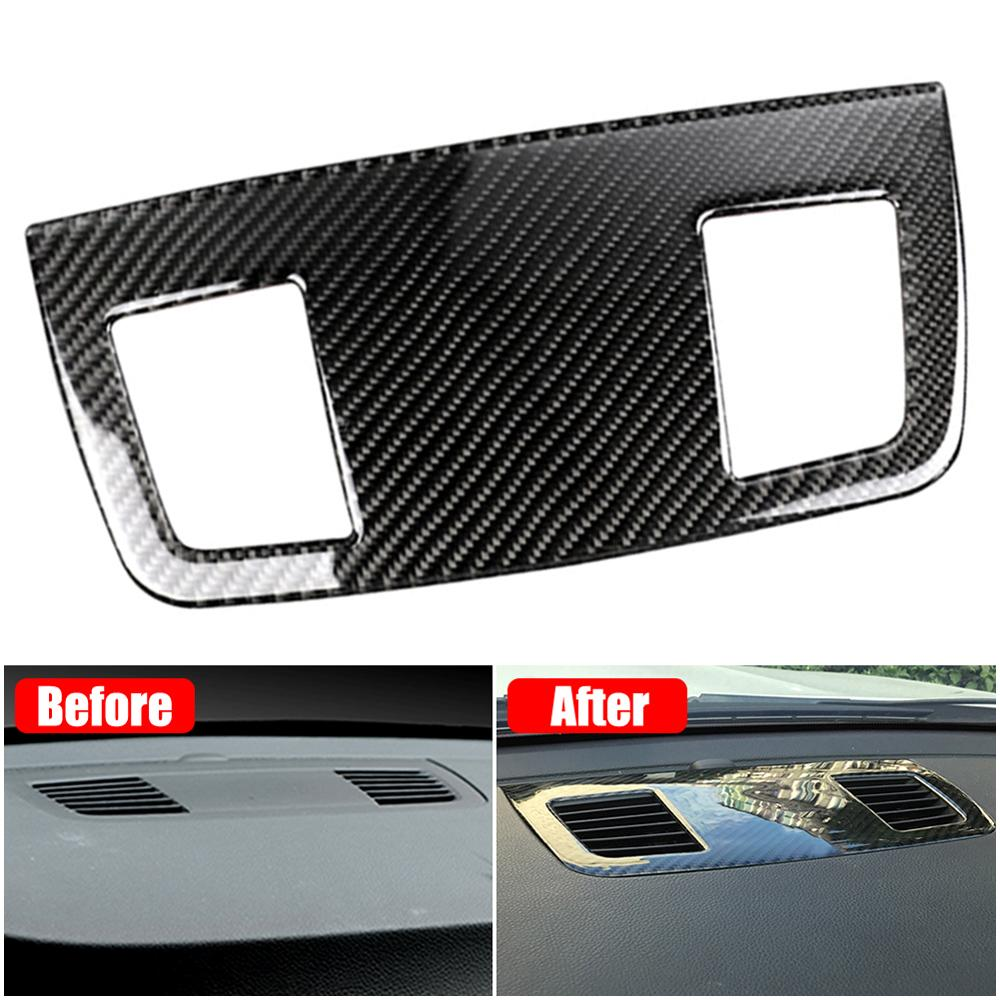 1x Carbon Fiber Air Condition Outlet Vent Cover Sticker For BMW 3 Series E90 E91 05-12 Dashboard Air Condition Outlet Vent Cover image