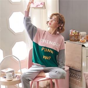 Image 2 - JRMISSLI conjuntos de pijamas de otoño para mujer, ropa de dormir de manga larga, 100% de algodón, para estar en casa