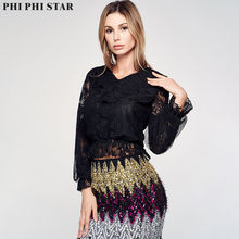 Phi Phi Star Brand young ladies top sexy Black mesh long sleeve women short top V Neck Lace Smock blouse ruffle armhole flower embroidered smock top