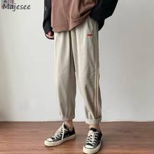 Rahat pantolon erkekler yaz gevşek düz pantolon Patchwork ayak bileği uzunlukta nefes erkek büyük boy 3XL şık kore tarzı Ulzzang
