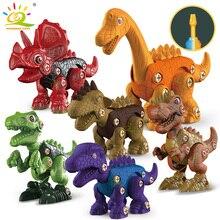 HUIQIBAO DIY Screw Nut Dinosaur Assembly Screwing Blocks Tyrannosaurus Raptor Triceratops Building Construction Toy for Children