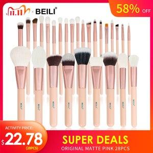 BEILI Matte Pink Makeup Brushes Set goat hair Powder Foundation Concealer Blush Eyeshadow rose gold natural hair Make up brushes