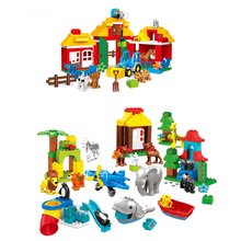 Gorock Zoo Farm Animal Big Size Building Block Brick Set Farmer Figure Diy Compatible with Big Size Brick Toys For children