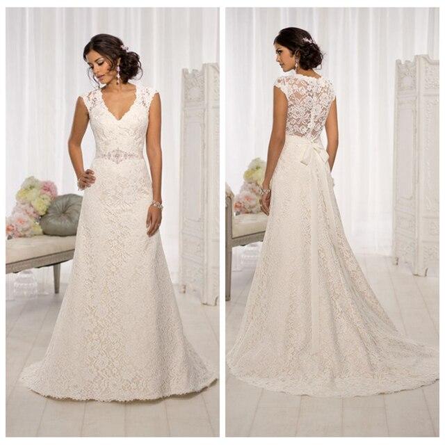 V-Neck A-Line Lace Appliques Wedding Dresses Floor Length Sleeveless Elegant Bridal Gown Свадебное платье vestidos de novia 3