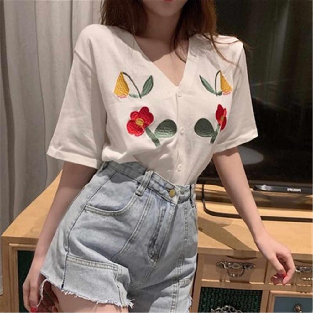 여자 여름 zy4860에 대 한 자 수 짧은 소매 v-목 얇은 카디 건 여성 여름 새로운 캐주얼 느슨한 단일 브레스트 스웨터