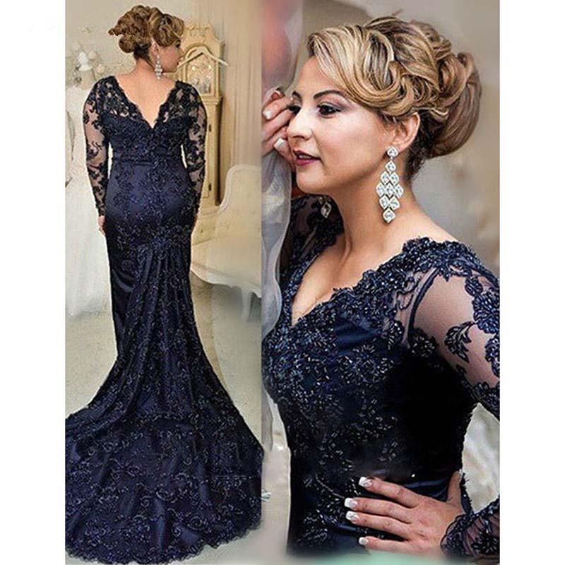 Navy Blue V-neck Long Sleeves Sweep Train Lace Mother Of The Bride Dresses 2019 Plus Size Mother Gowns