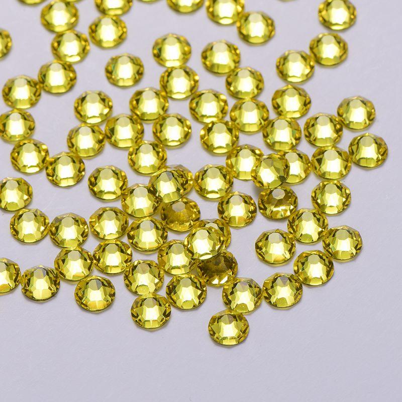 Lemon Yellow Rhinestones 8 Big 8 Small FlatBack No-HotFix SS20 3D Nail Art Decoration Rhinestones Golden Back