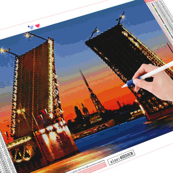 HUACAN 5D DIY Diamond Painting Embroidery Landscape St Petersburg Bridge Diamond Mosaic Full Square Rhinestones