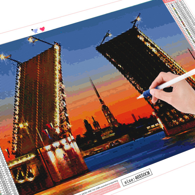 HUACAN 5D DIY Diamond Painting Embroidery Landscape St Petersburg Bridge Diamond Mosaic Full Square Rhinestones Decor