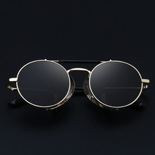 Retro Steampunk Sunglasses Round Designer Steam Punk Metal Shields