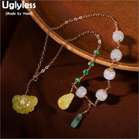 Uglyless Luxury Multi Treasure Gemstones Beads Necklaces Women Jade Amber Beeswax Emerald Chokers Real 925 Silver Jewelry P742