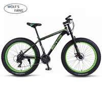"wolf's fang Mountain bike bicycle aluminum frame 7/21/24 speed mechanical brakes 26 ""x 4.0 wheels long fork Fat Bikes road bike"