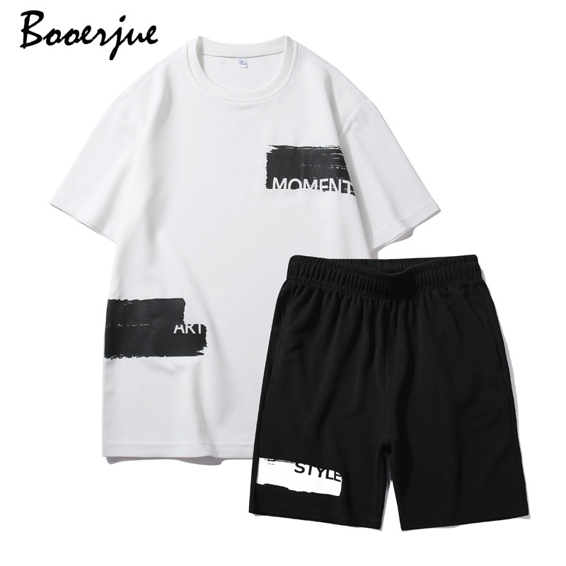 Set Mens Black T Shirt Cotton Tshirt For Men Tee Summer Japanese Casual Suit Set Tshirts Streetwear Fitness Tees Oversized 2020