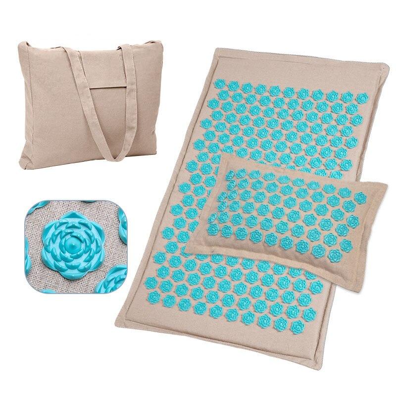 Massage Mat Set Eco Linen Coconut Fiber Buckwheat Shell Spike Mat Pillow With Bag Relief Pain Gives Energy Massager