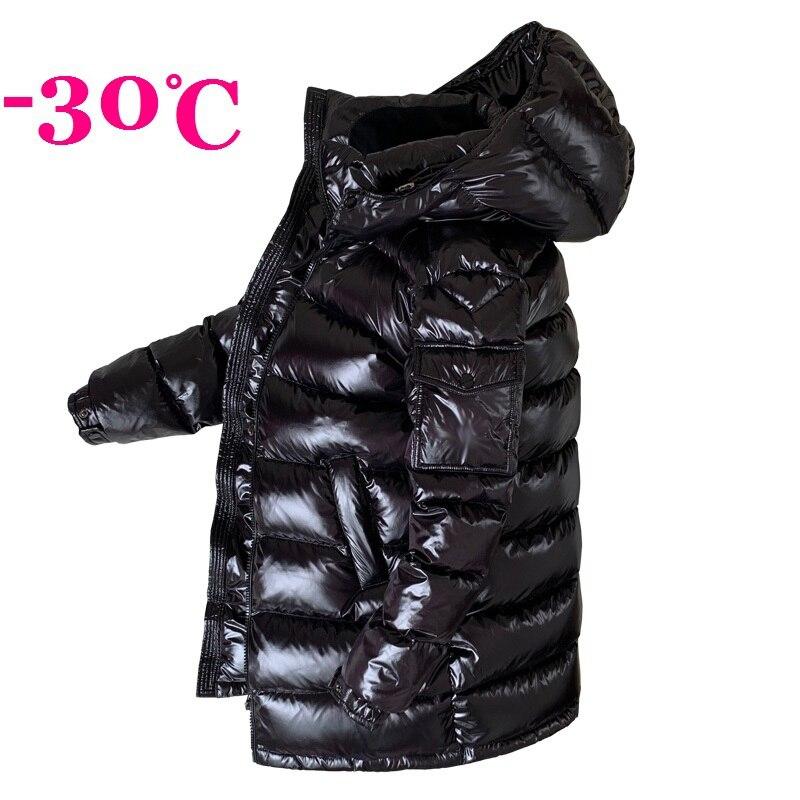 2019 Winter Men Down Jackets Boys Down Coat Winter Snow-wear Hooded Male Down Outerwear M L XL XXL BLACK