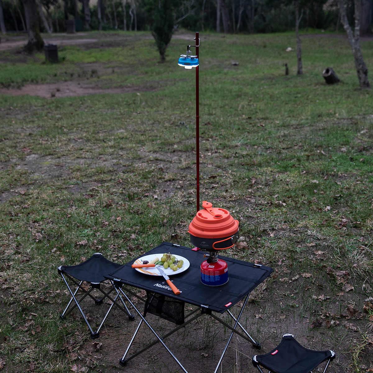 を Naturehike キャンプ折りたたみランプポールポータブル屋外ピクニック旅行軽量アルミテントライトサポート