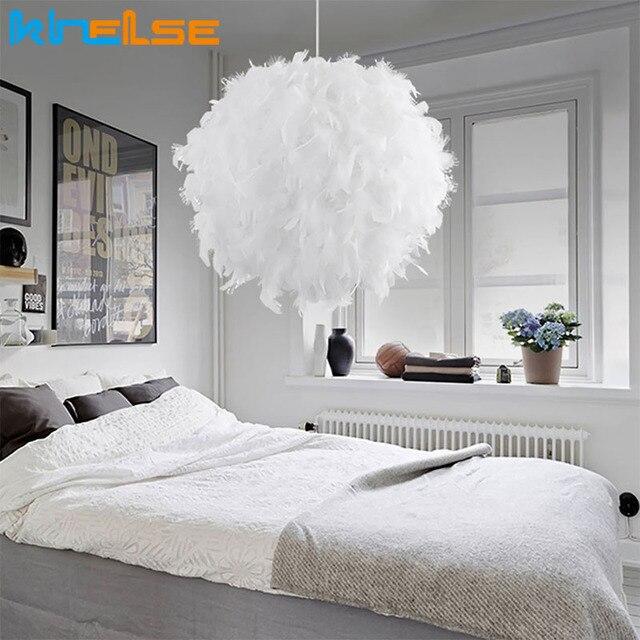 Güzel tüy kolye ışıkları Droplights çocuk odası asılı ışık kristal yatak odası süspansiyon düğün aydınlatma armatürü yatak odası için