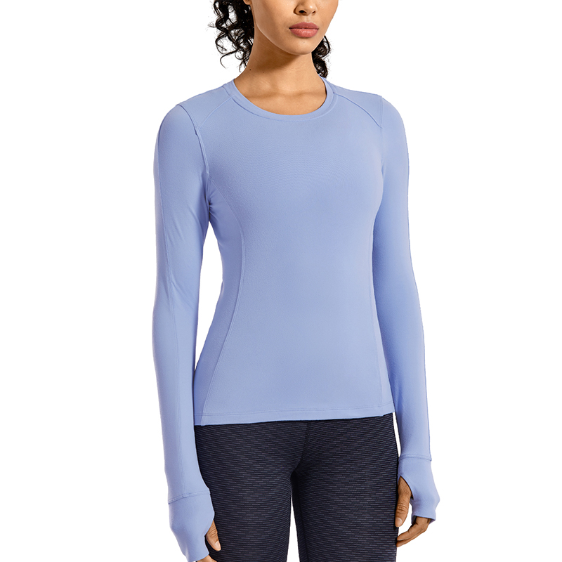 CRZ YOGA Womens Long Sleeve Running Shirt Athletic Workout Top with Thumb Holes