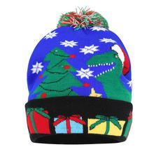 Christmas Tree Dinosaur Cuffed Knit Hat with LED Colorful Light Adult Children Cap Fur Bobble Ball Pompom Winter Beanie Skullies