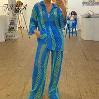 FSDA 2021 Cardigan a maniche lunghe allentato a righe blu da donna autunno oversize Casual Y2k Beach maglione lavorato a maglia Sexy moda