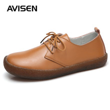 купить Women Leather Shoes Spring/Autumn Woman British Style Round Toe Femme Oxford Shoes Lace-Up Soft Casual Flat Shoes по цене 881.23 рублей