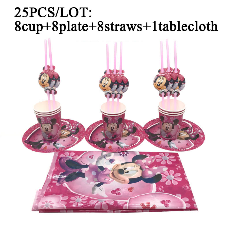 Minnie Mouse Birthday Party Decoration Set Pink Minnie Mouse Theme Baby Girl Party Supplies Kids Family Party Decor Tablecloth