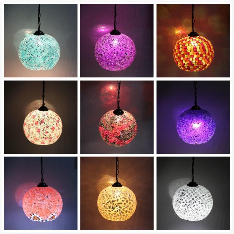Bohemian Style Colorful Mosaic Glass Shell Pendant Light Cafe Restaurant lamp Pendant Lights     - title=