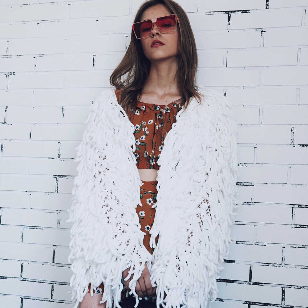 Outono inverno casaco feminino 2019 moda casual sólida borla trançado casaco feminino vintage manga longa solta jaquetas outwear branco