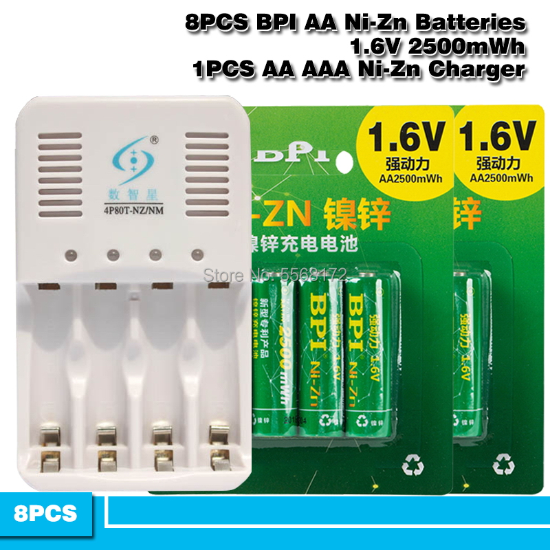 <font><b>1.6V</b></font> <font><b>AA</b></font> <font><b>Battery</b></font> 8Pcs BPI NI-ZN 2500mwh <font><b>AA</b></font> Rechargeable <font><b>Battery</b></font> + <font><b>AA</b></font>/AAA Ni-Zn NI-MH Smart charger image