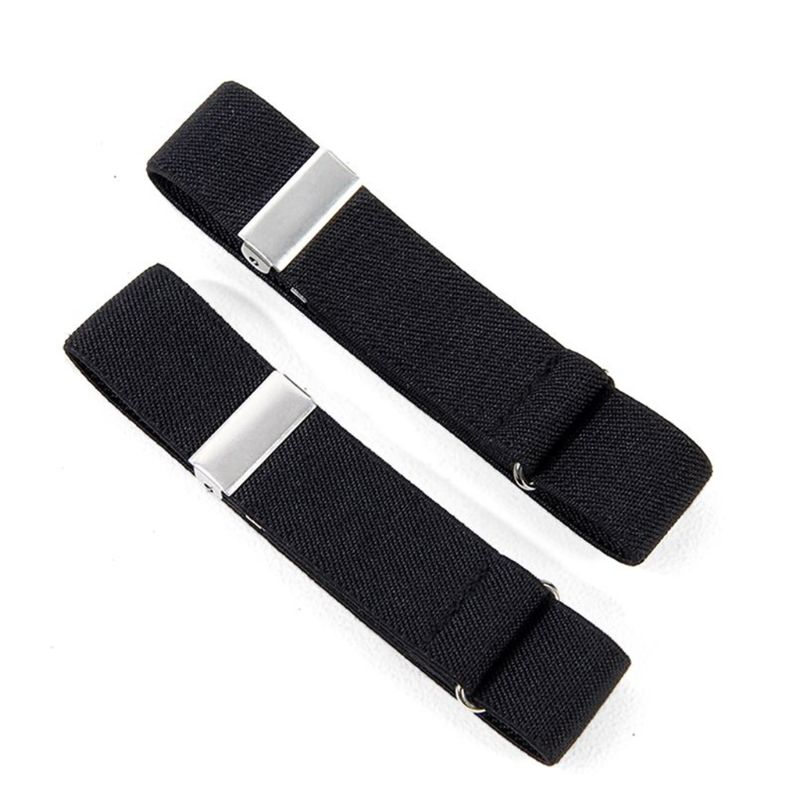 THINKTHENDO 2pcs Mens Groom Shirt Sleeve Holder Metal Non-slip Strap Elastic Stretch Armband