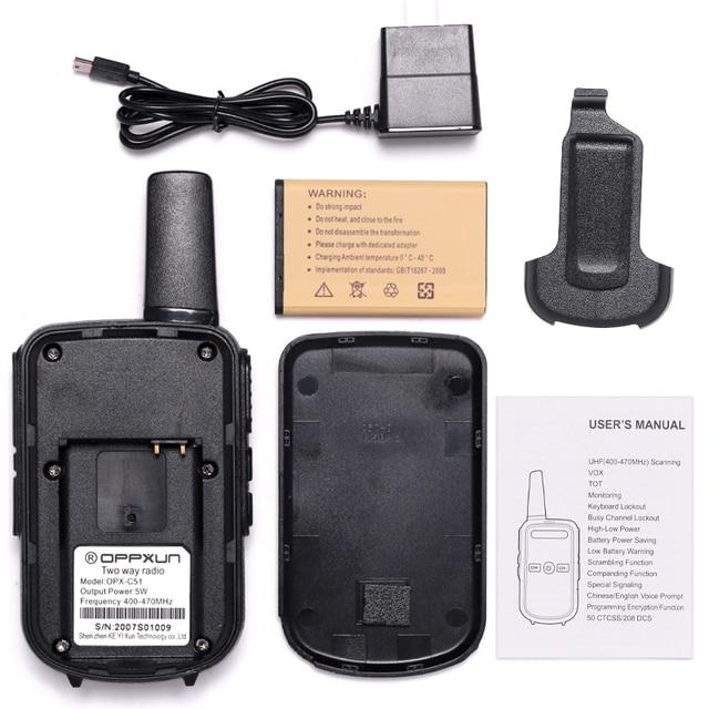 2pcs OPPXUN C51 MINI Walkie Talkie Portable Ham Radio Station Telsiz Headset Transceiver Children Long Range cb Radio Telefon CD 5