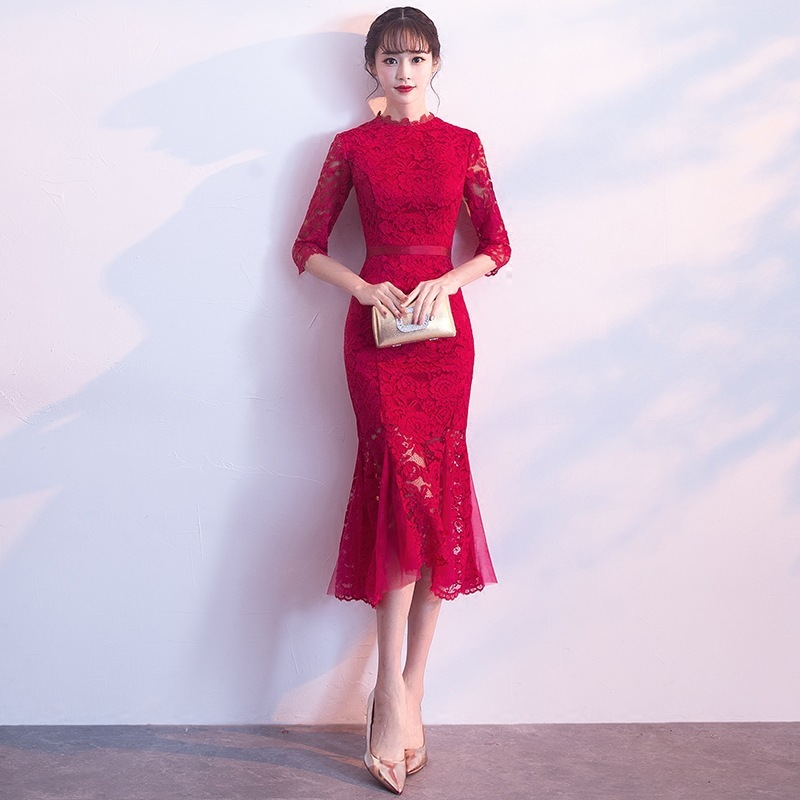 2019 Rushed Toast 2020 New Autumn And Winter Wedding Engagement Back Door Medium Length Fishtail Show Thin Evening Dress Skirt