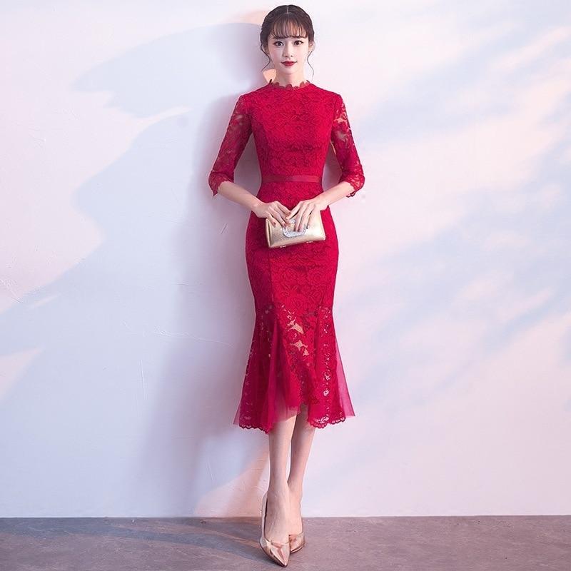 2020 Rushed Toast 2020 New Autumn And Winter Wedding Engagement Back Door Medium Length Fishtail Show Thin Evening Dress Skirt