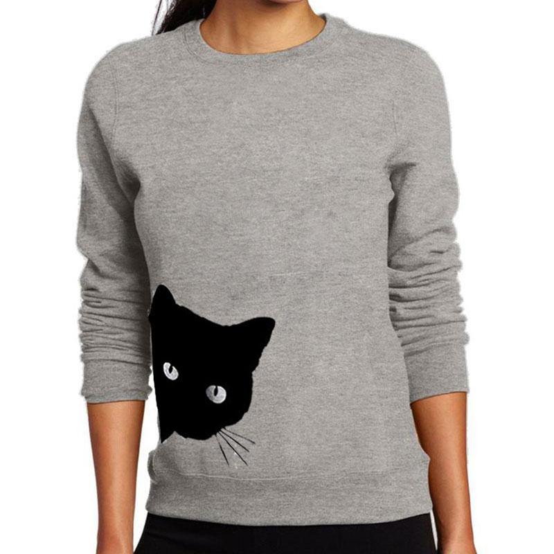 Women Casual Cat Head Print Sweatshirt Fashion Street Loose O-neck Long-sleeved Sweatshirt