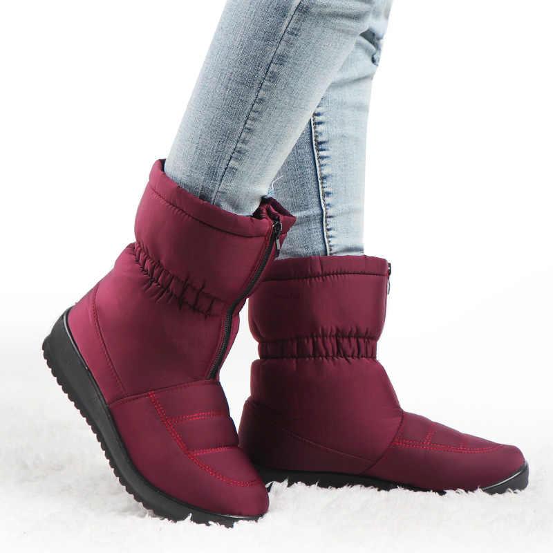 Botas de nieve impermeables para Invierno Botines de Mujer Zapatos de plataforma de piel caliente Botas negras Mujer Invierno 2020