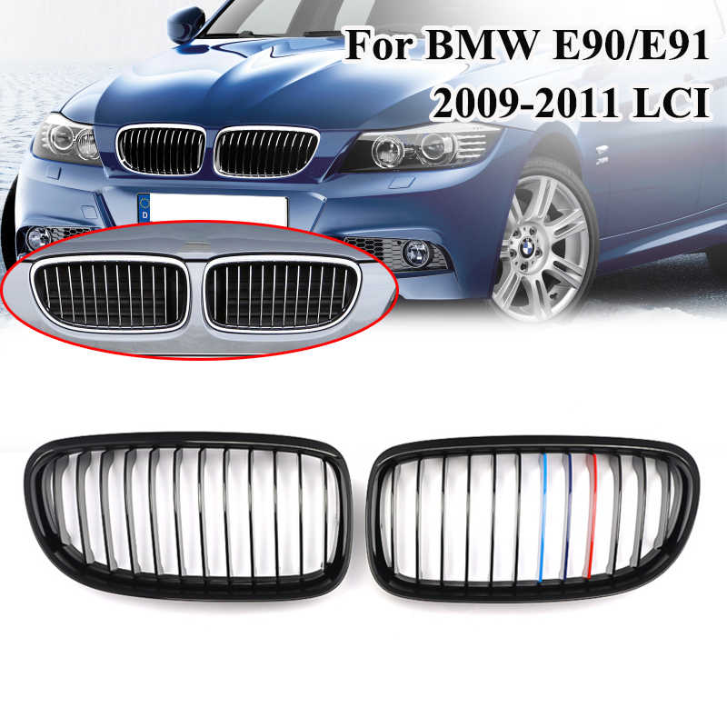 MagicKit Pair Gloss Black M Color Front Kidney Sport Grilles Grille For BMW E90 E91 3 Series Saloon LCI 325i 328i 335i 4Dr 09-11