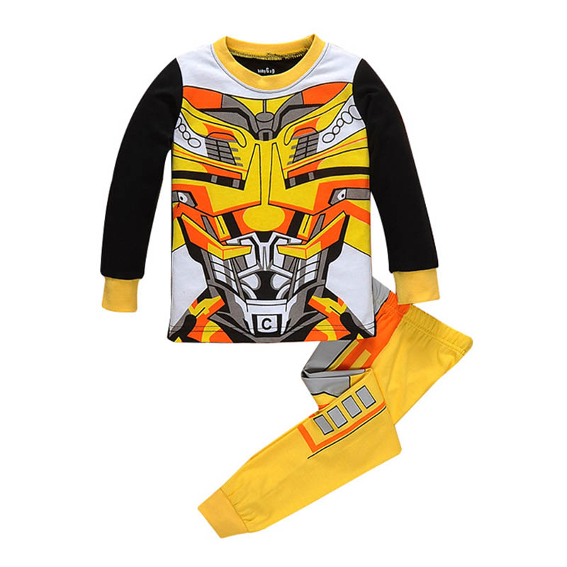 Child Boys Transformers Bumblebee Cotton Pajamas Kids Cosplay Movie Bumblebee Costume Halloween Birthday Transformers Clothes
