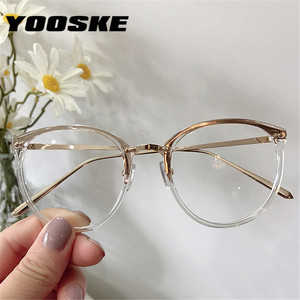 YOOSKE Optical Glasses for Sight Women Men Myopia Round Oversized Eyeglasses Frames Metal Spectacles Clear Glasses with Cloth