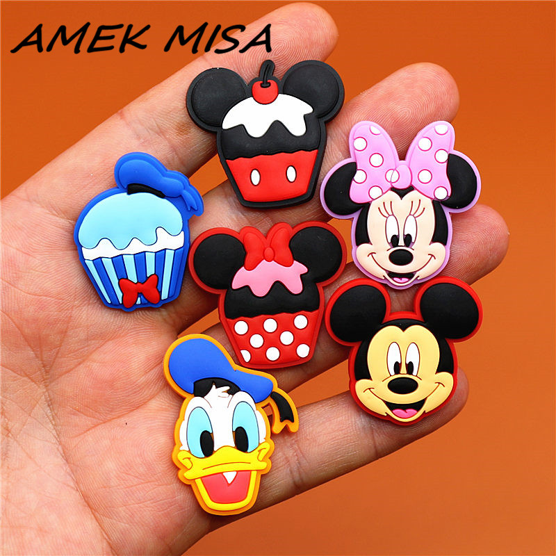 8pcs/Set PVC Cartoon Shoe Charms Mickey Daisy Minnie Shoe Decorations Accessories Fit Croc Wristband JIBZ Party Kid's Gifts U93