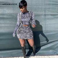ANJAMANOR/комплект из двух предметов, юбка с принтом зебры гепарда и высокой талией, костюм с топом, женские модные комплекты, осенняя Клубная од...