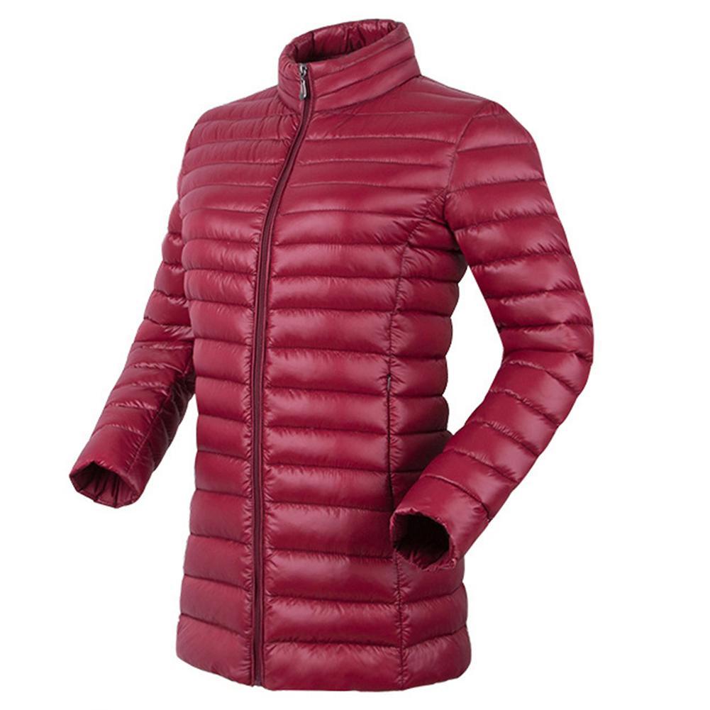 Womens Coat Autumn Winter Down Coats Stand Collar Zipper Pocket Warm Cotton Coat Long Down Jacket Ladies Down Coats