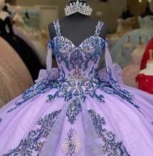 Lindo lavanda quinceanera vestidos lantejoulas appliqued vestidos de 15 anos doce 16 vestido de baile vestido