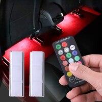 Striscia di luce ambientale per interni Auto ricarica portatile RGB Auto atmosfera LED USB telecomando senza fili lampada decorativa per il controllo della musica