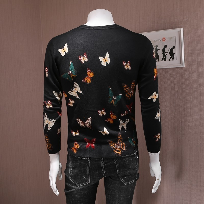 Autumn New Mens Slim Fit O Neck Sweater Pullover Colorful Butterfly Printed Knitwear Top Casual Long Sleeve Knitted Sweater 4XL
