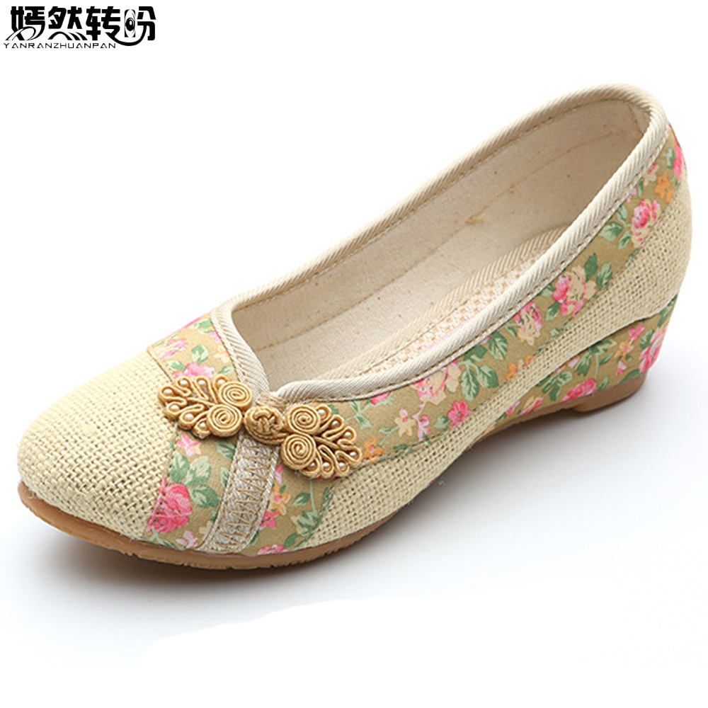 2020 New Women Red Flats Old Beijing Linen Single Shoes Chinese Wedding Bride Embroidery Shoes For Cheongsam Sapato Feminino