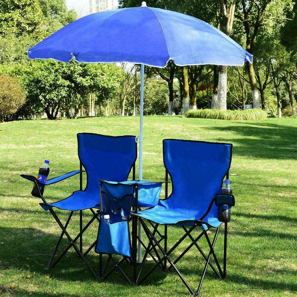 Foldable Camping Double Chair+Umbrella Table Cooler 2