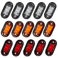 10 Uds luz de advertencia de diodo de luz LED Oval de camión de remolque naranja rojo blanco LED indicador lateral de la lámpara 12V 24V camión Accesorios