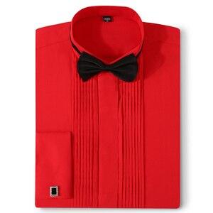 Image 5 - 남자 턱시도 셔츠 웨딩 긴 소매 드레스 프랑스어 커프스 단추 페타 폴드 다크 버튼 디자인 신사 셔츠 화이트 레드 블랙